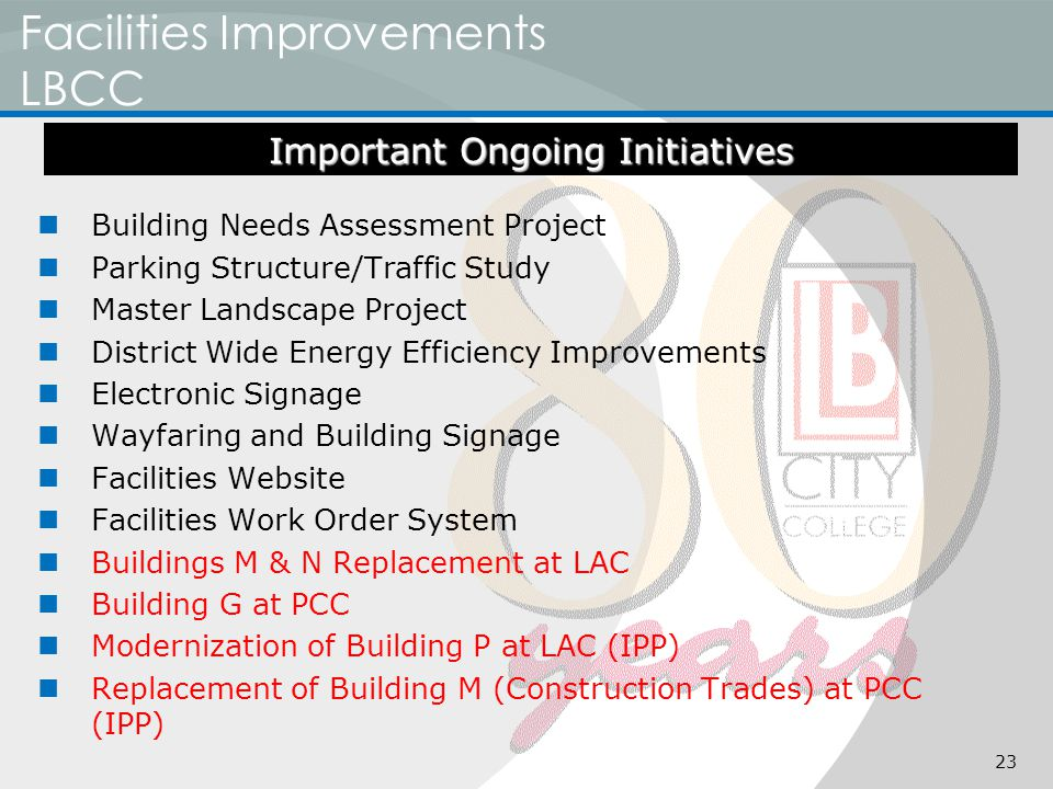 Facilities Improvements LBCC Building Needs Assessment Project Parking Structure/Traffic Study Master Landscape Project District Wide Energy Efficiency Improvements Electronic Signage Wayfaring and Building Signage Facilities Website Facilities Work Order System Buildings M & N Replacement at LAC Building G at PCC Modernization of Building P at LAC (IPP) Replacement of Building M (Construction Trades) at PCC (IPP) Important Ongoing Initiatives 23