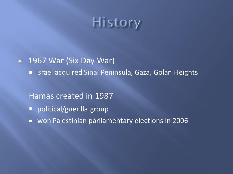 1967 War (Six Day War) Israel acquired Sinai Peninsula, Gaza, Golan Heights Hamas created in 1987 political/guerilla group won Palestinian parliamentary elections in 2006