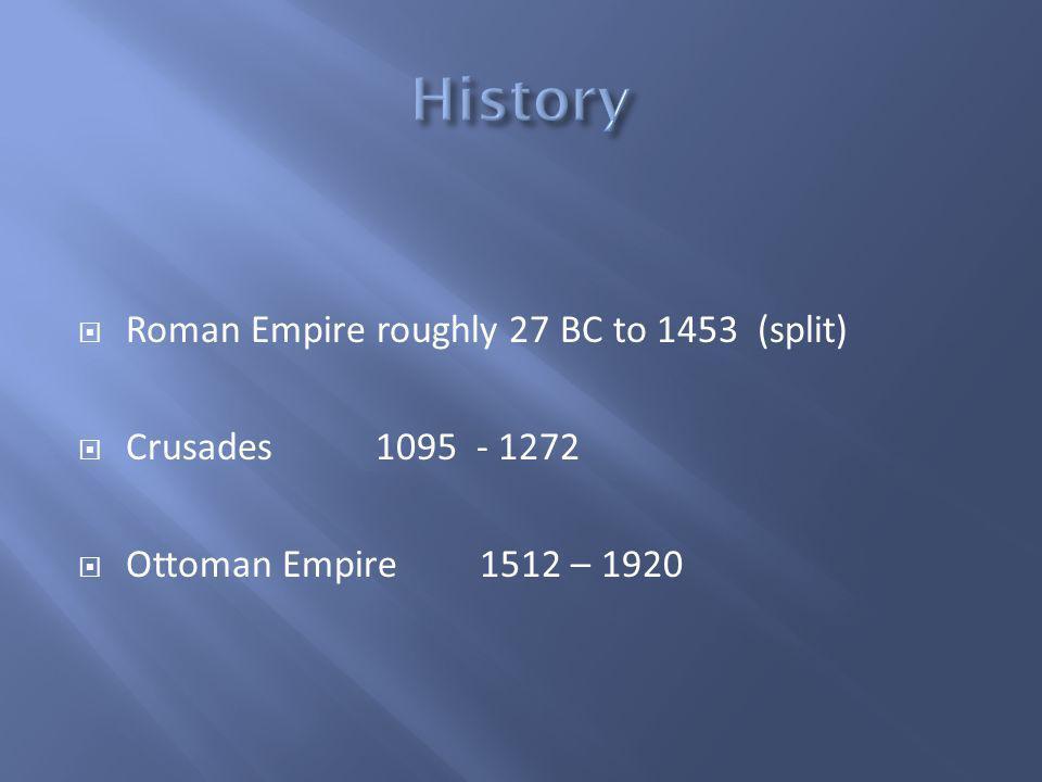 Roman Empire roughly 27 BC to 1453 (split) Crusades1095 - 1272 Ottoman Empire 1512 – 1920