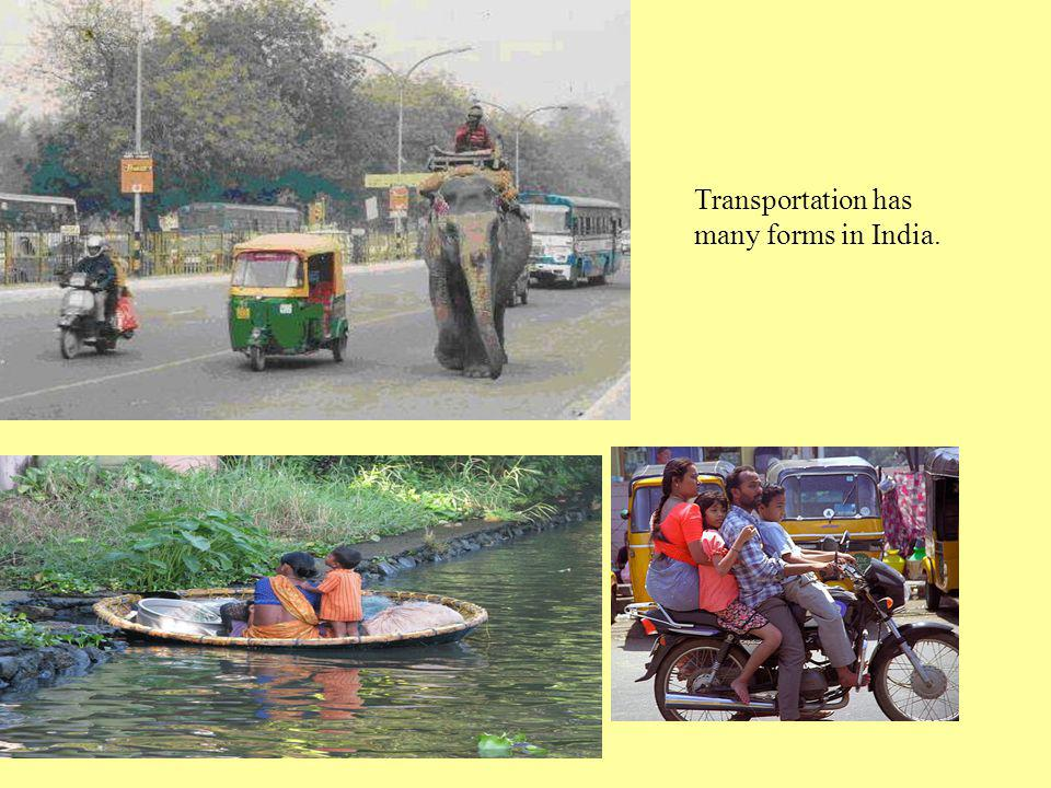 Transportation has many forms in India.