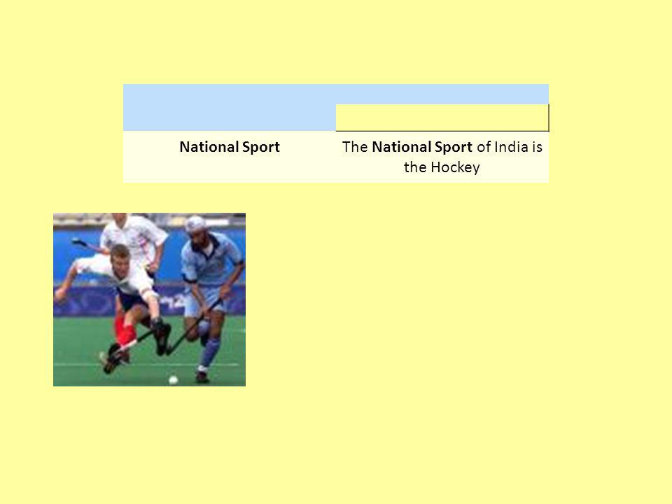 National SportThe National Sport of India is the Hockey