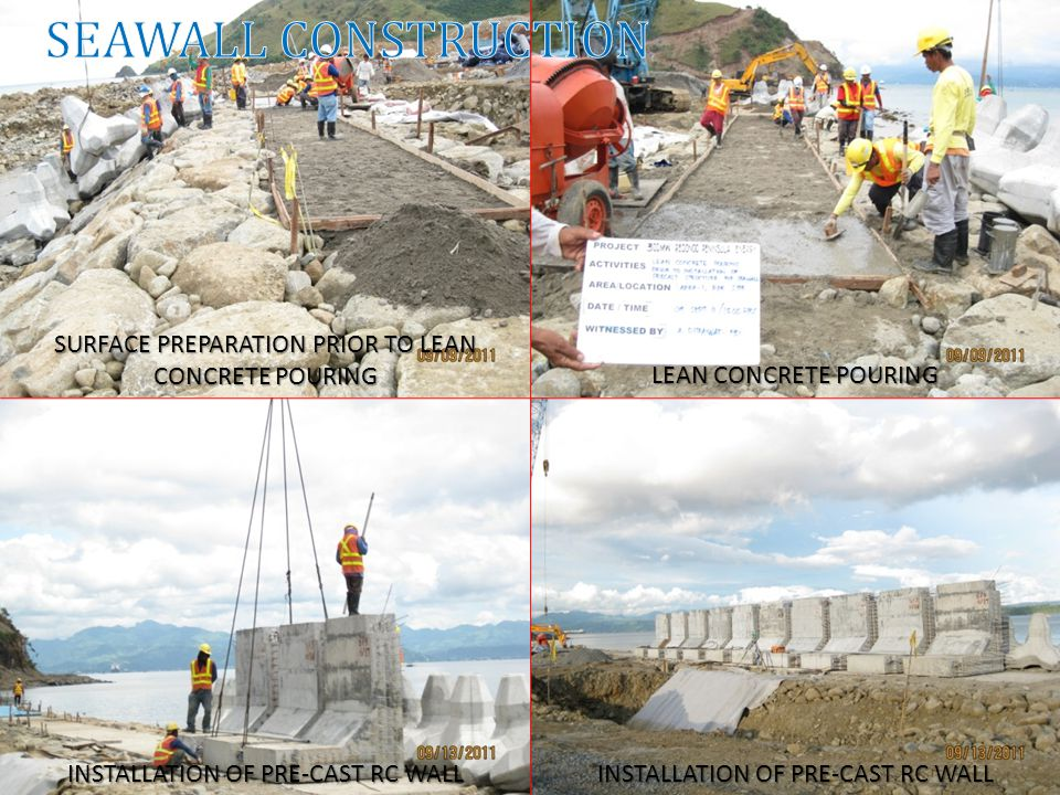 INSTALLATION OF PRE-CAST RC WALL LEAN CONCRETE POURING SURFACE PREPARATION PRIOR TO LEAN CONCRETE POURING INSTALLATION OF PRE-CAST RC WALL