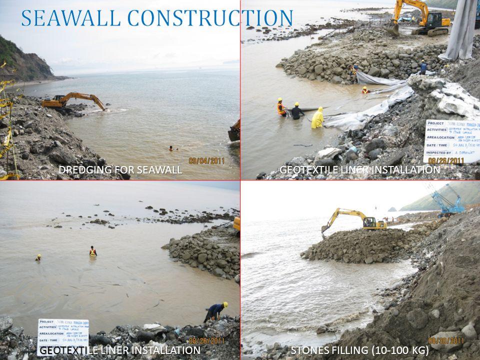 DREDGING FOR SEAWALL GEOTEXTILE LINER INSTALLATION STONES FILLING (10-100 KG)