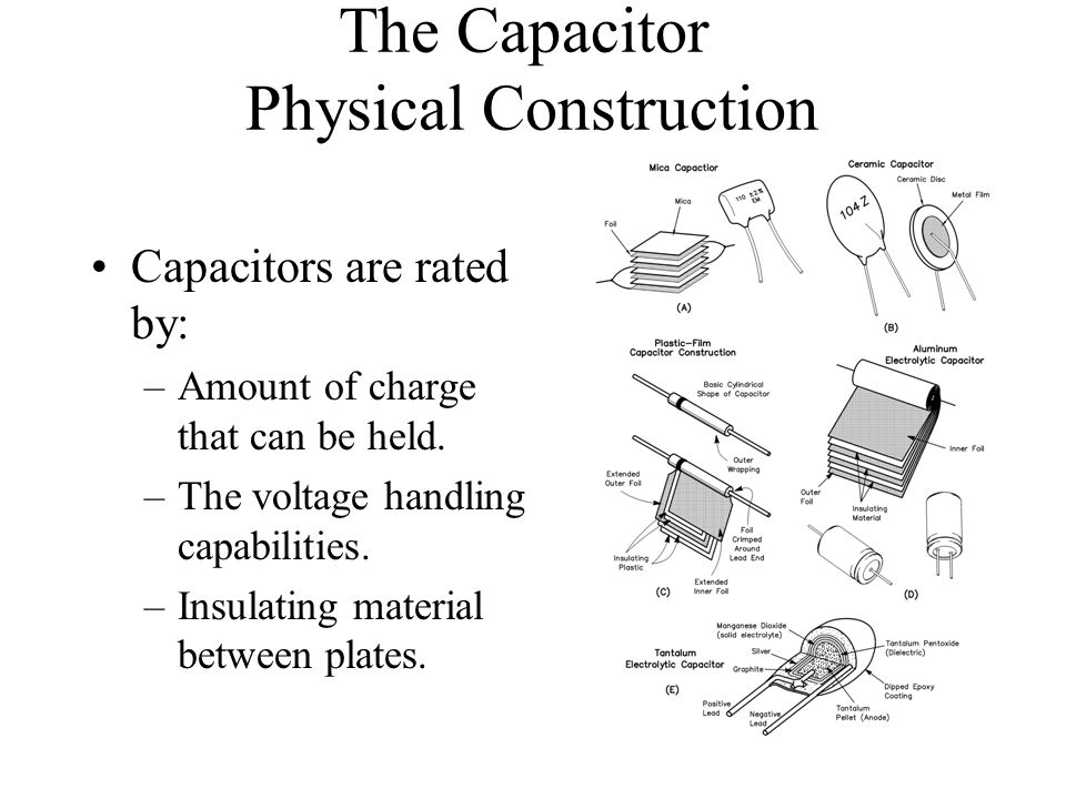 The Capacitor Physical Construction Capacitors are rated by: –Amount of charge that can be held. –The voltage handling capabilities. –Insulating mater