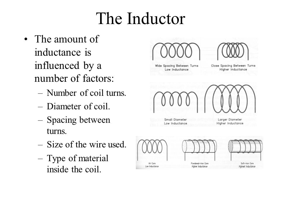 The Inductor The amount of inductance is influenced by a number of factors: –Number of coil turns. –Diameter of coil. –Spacing between turns. –Size of