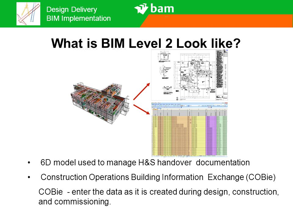 Design Delivery BIM Implementation What is BIM Level 2 Look like? 6D model used to manage H&S handover documentation Construction Operations Building