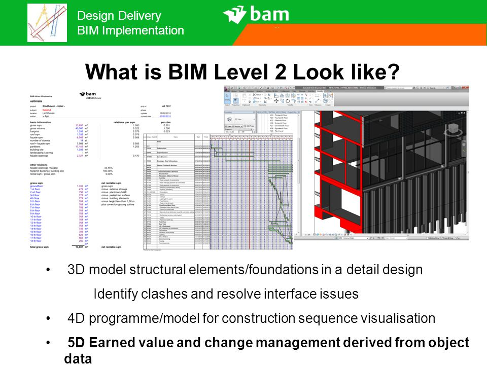 Design Delivery BIM Implementation What is BIM Level 2 Look like? 3D model structural elements/foundations in a detail design Identify clashes and res