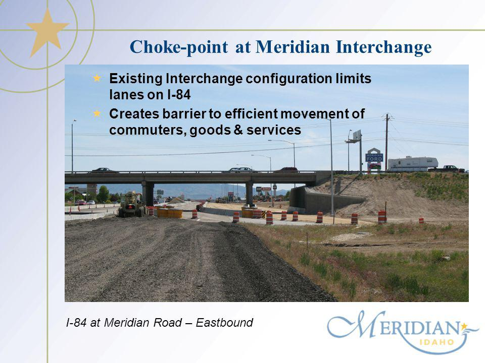Choke-point at Meridian Interchange Existing Interchange configuration limits lanes on I-84 Creates barrier to efficient movement of commuters, goods & services I-84 at Meridian Road – Eastbound