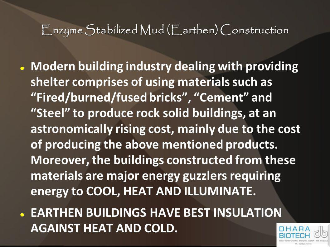 Enzyme Stabilized Mud (Earthen) Construction Modern building industry dealing with providing shelter comprises of using materials such as Fired/burned