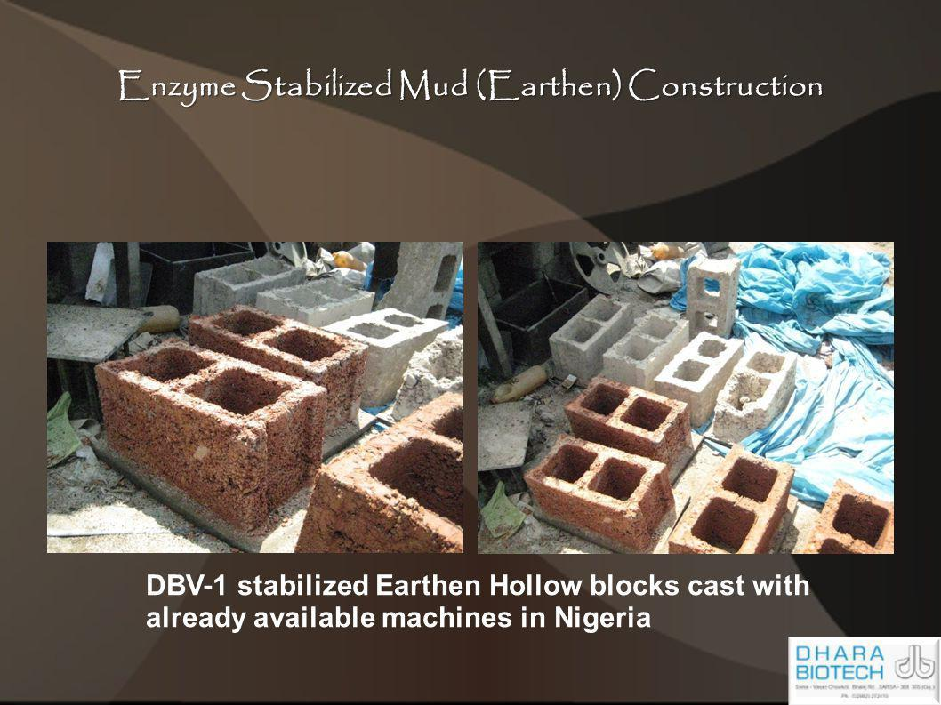 Enzyme Stabilized Mud (Earthen) Construction DBV-1 stabilized Earthen Hollow blocks cast with already available machines in Nigeria