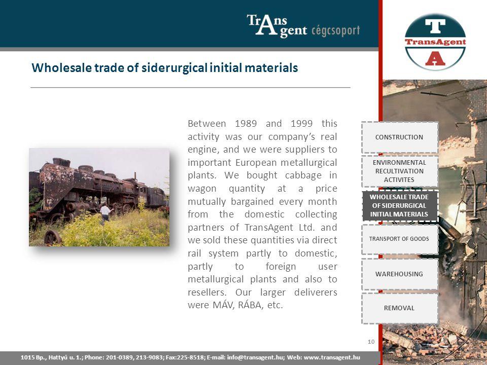 Wholesale trade of siderurgical initial materials 1015 Bp., Hattyú u. 1.; Tel: 201-0389, 213-9083; Fax:225-8518; E-mail: info@transagent.hu; Web: www.