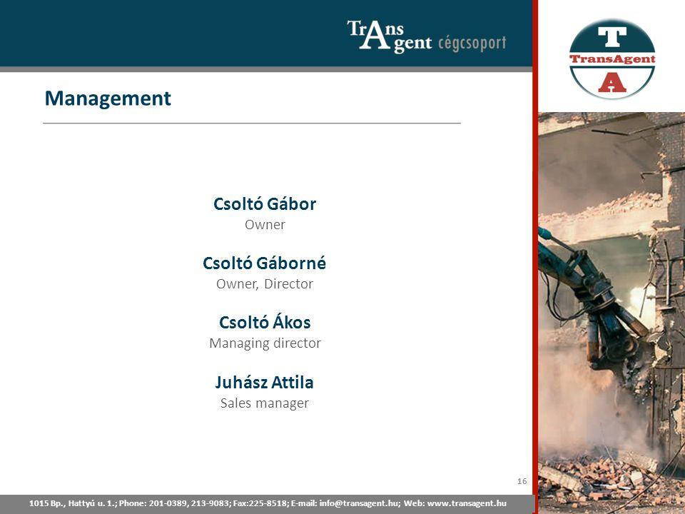 Management 1015 Bp., Hattyú u. 1.; Tel: 201-0389, 213-9083; Fax:225-8518; E-mail: info@transagent.hu; Web: www.transagent.hu Csoltó Gábor Owner Csoltó