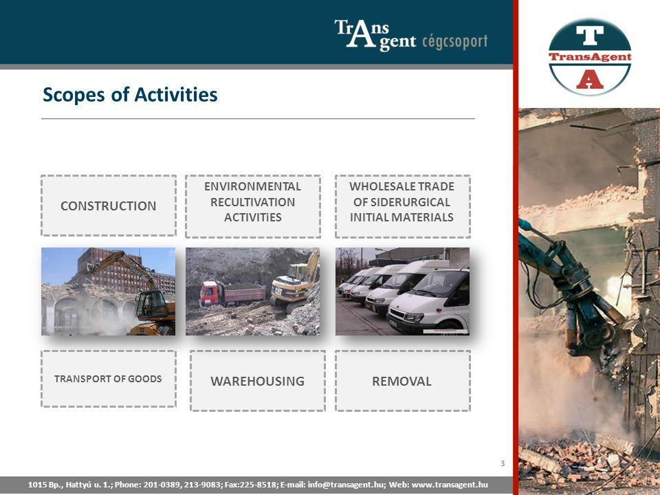 Scopes of Activities 1015 Bp., Hattyú u. 1.; Phone: 201-0389, 213-9083; Fax:225-8518; E-mail: info@transagent.hu; Web: www.transagent.hu CONSTRUCTION