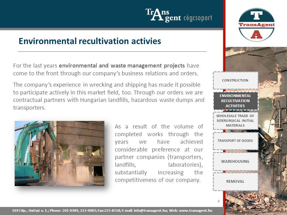 Environmental recultivation activies 1015 Bp., Hattyú u. 1.; Tel: 201-0389, 213-9083; Fax:225-8518; E-mail: info@transagent.hu; Web: www.transagent.hu