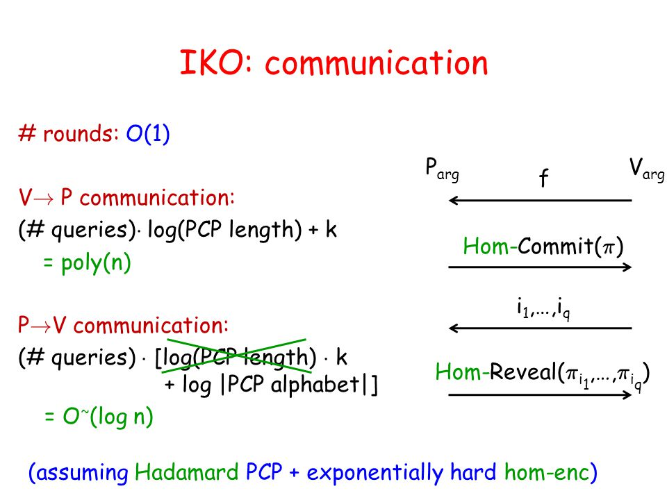 IKO: communication # rounds: O(1) V .