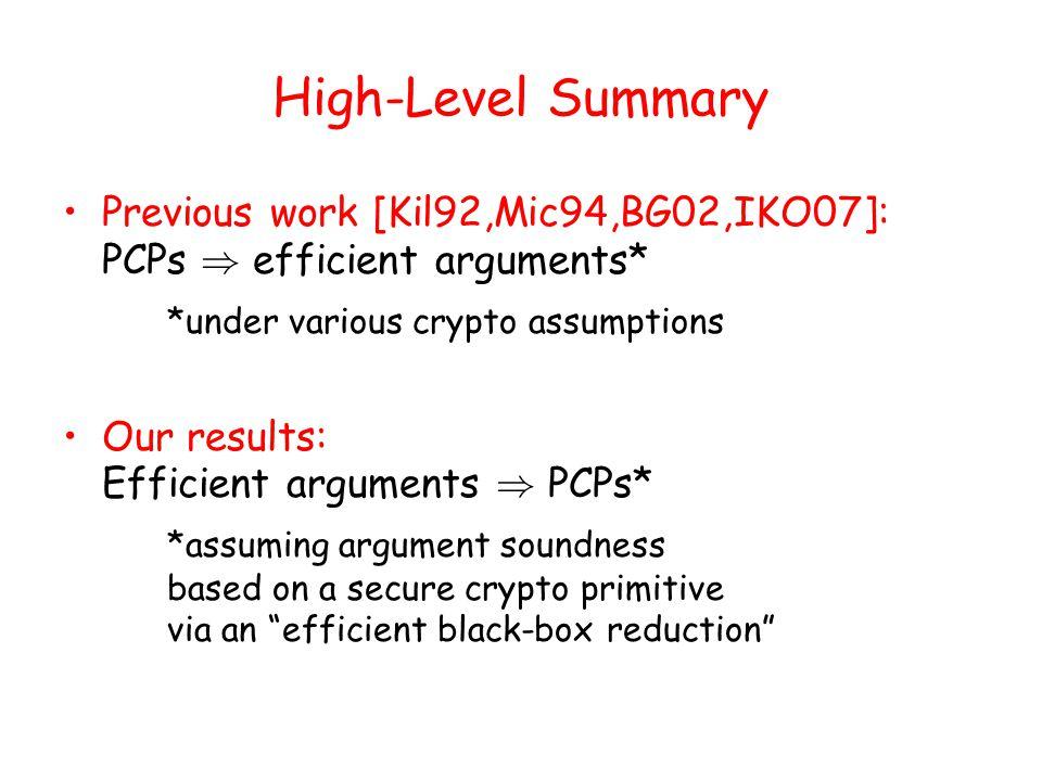 PCPs ) Arguments (previous work)