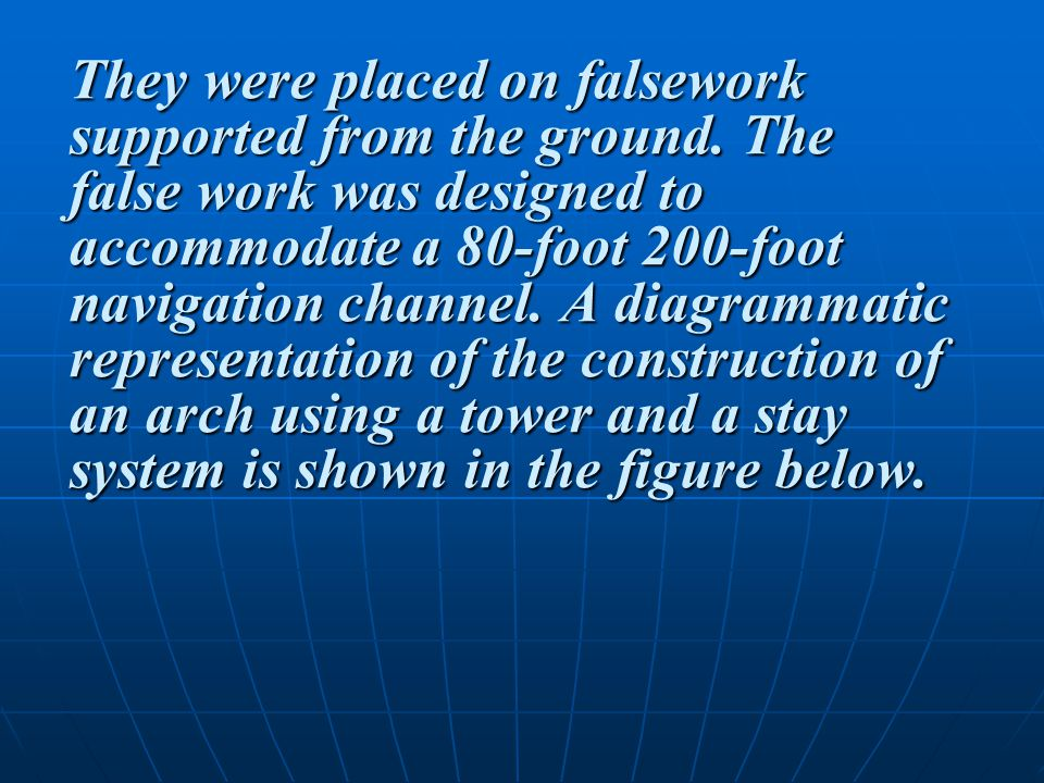 They were placed on falsework supported from the ground.
