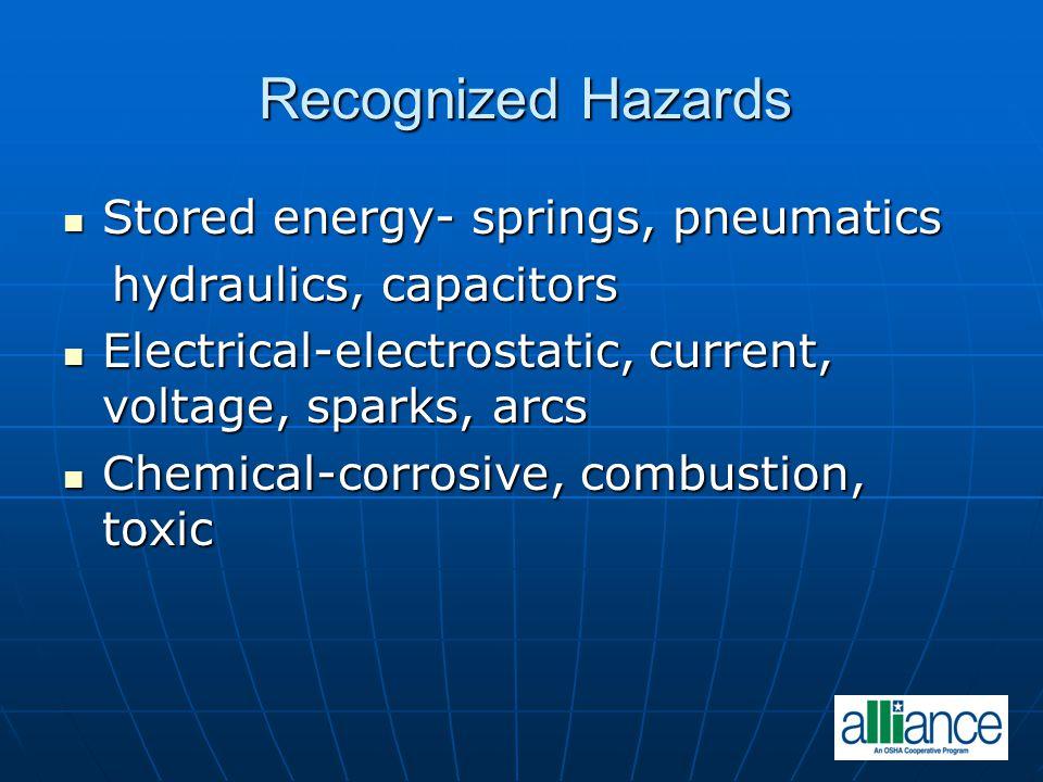 Recognized Hazards Stored energy- springs, pneumatics Stored energy- springs, pneumatics hydraulics, capacitors hydraulics, capacitors Electrical-elec