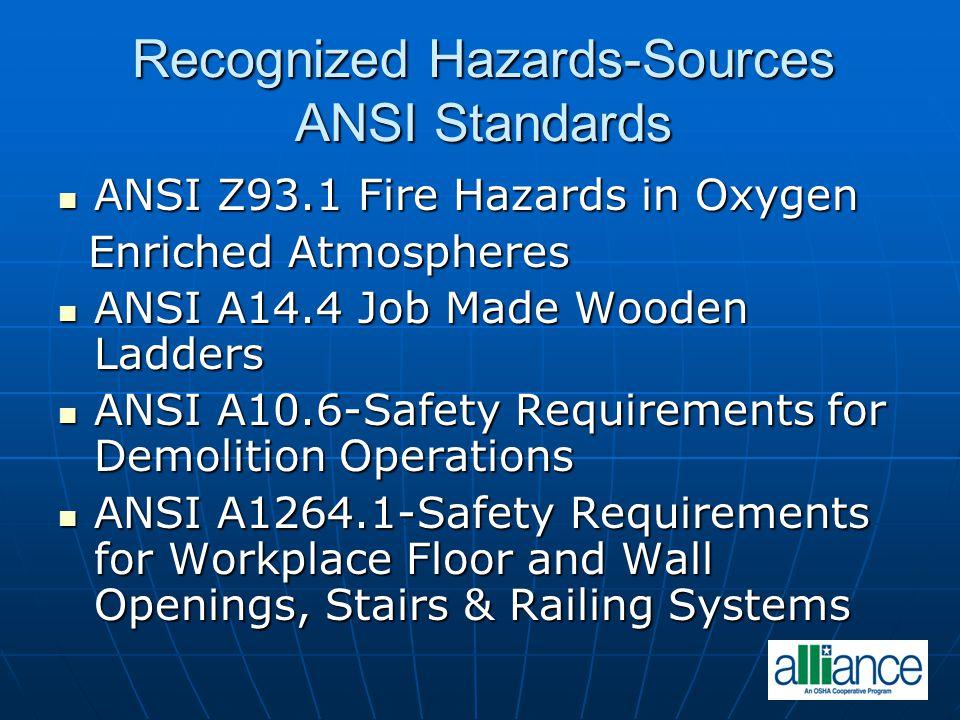 Recognized Hazards-Sources ANSI Standards ANSI Z93.1 Fire Hazards in Oxygen ANSI Z93.1 Fire Hazards in Oxygen Enriched Atmospheres Enriched Atmosphere