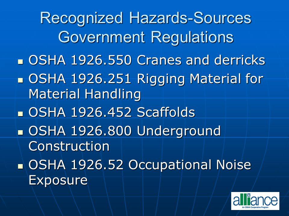 Recognized Hazards-Sources Government Regulations OSHA 1926.550 Cranes and derricks OSHA 1926.550 Cranes and derricks OSHA 1926.251 Rigging Material f