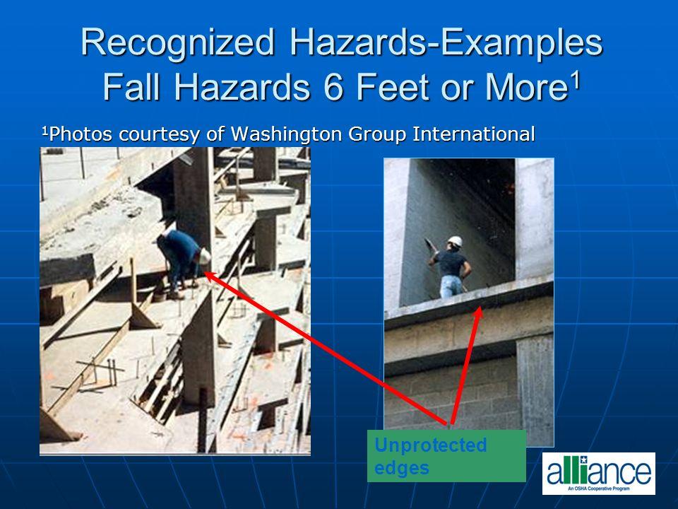 Recognized Hazards-Examples Fall Hazards 6 Feet or More 1 1 Photos courtesy of Washington Group International Unprotected edges