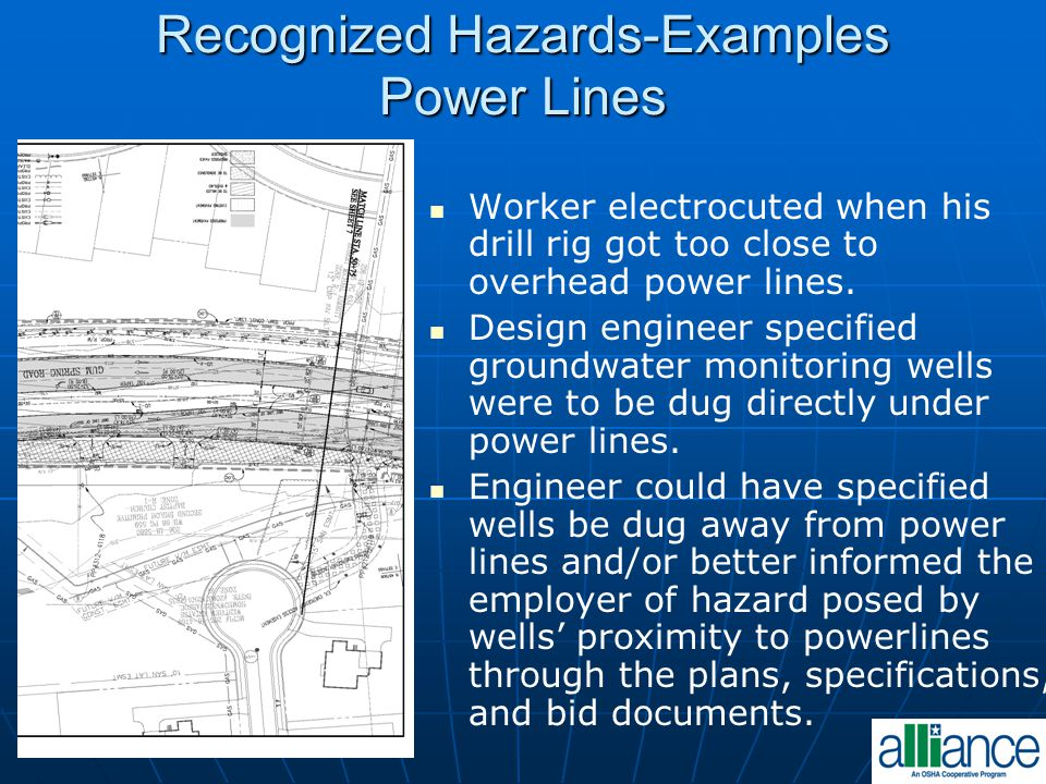 Recognized Hazards-Examples Power Lines Worker electrocuted when his drill rig got too close to overhead power lines. Design engineer specified ground
