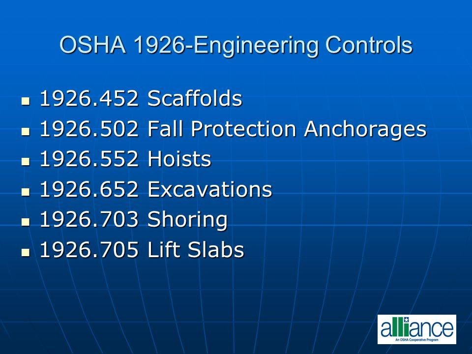 OSHA 1926-Engineering Controls 1926.452 Scaffolds 1926.452 Scaffolds 1926.502 Fall Protection Anchorages 1926.502 Fall Protection Anchorages 1926.552