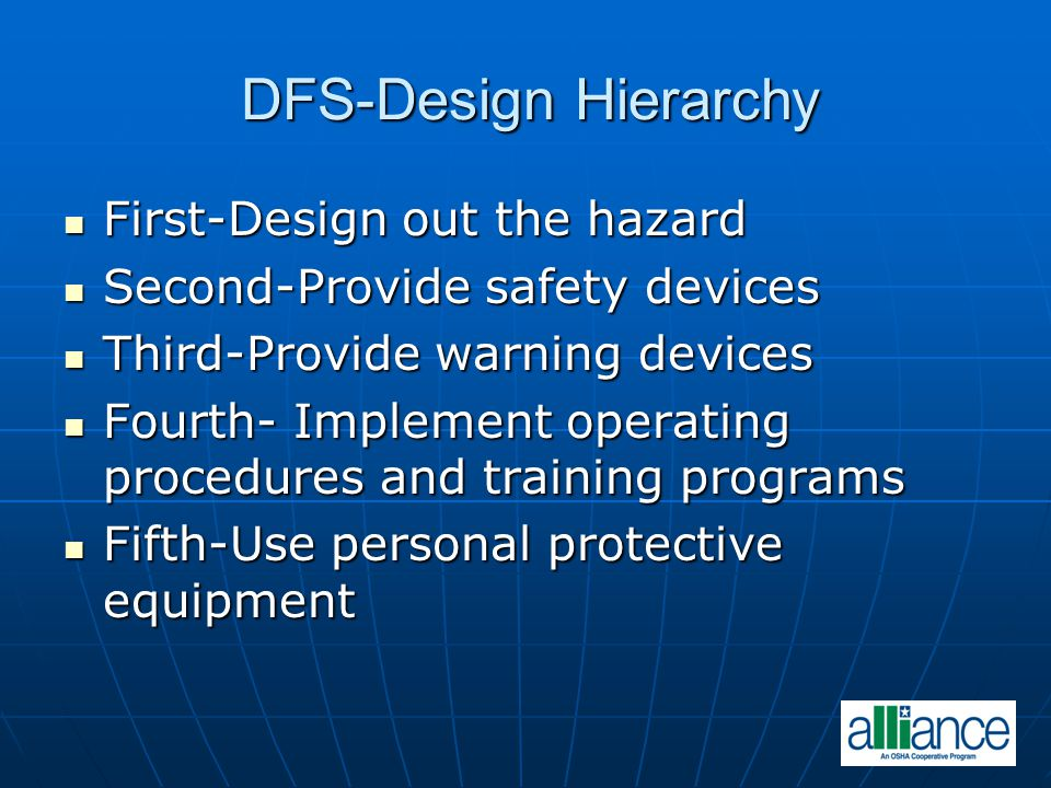 DFS-Design Hierarchy First-Design out the hazard First-Design out the hazard Second-Provide safety devices Second-Provide safety devices Third-Provide