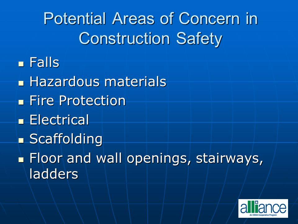Potential Areas of Concern in Construction Safety Falls Falls Hazardous materials Hazardous materials Fire Protection Fire Protection Electrical Elect