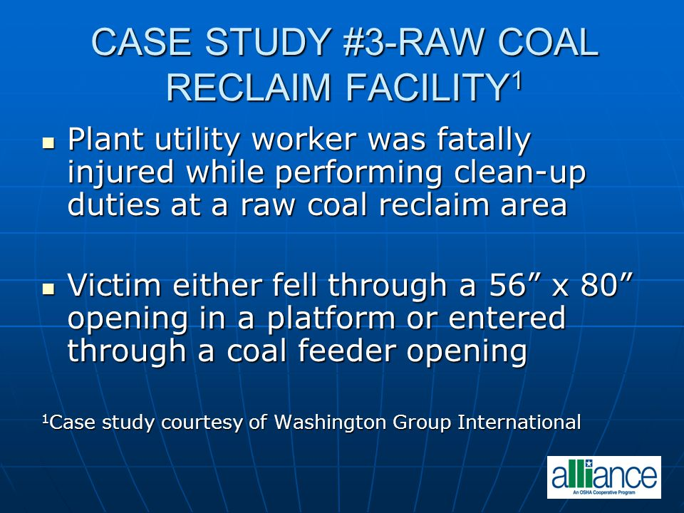 CASE STUDY #3-RAW COAL RECLAIM FACILITY 1 Plant utility worker was fatally injured while performing clean-up duties at a raw coal reclaim area Plant u