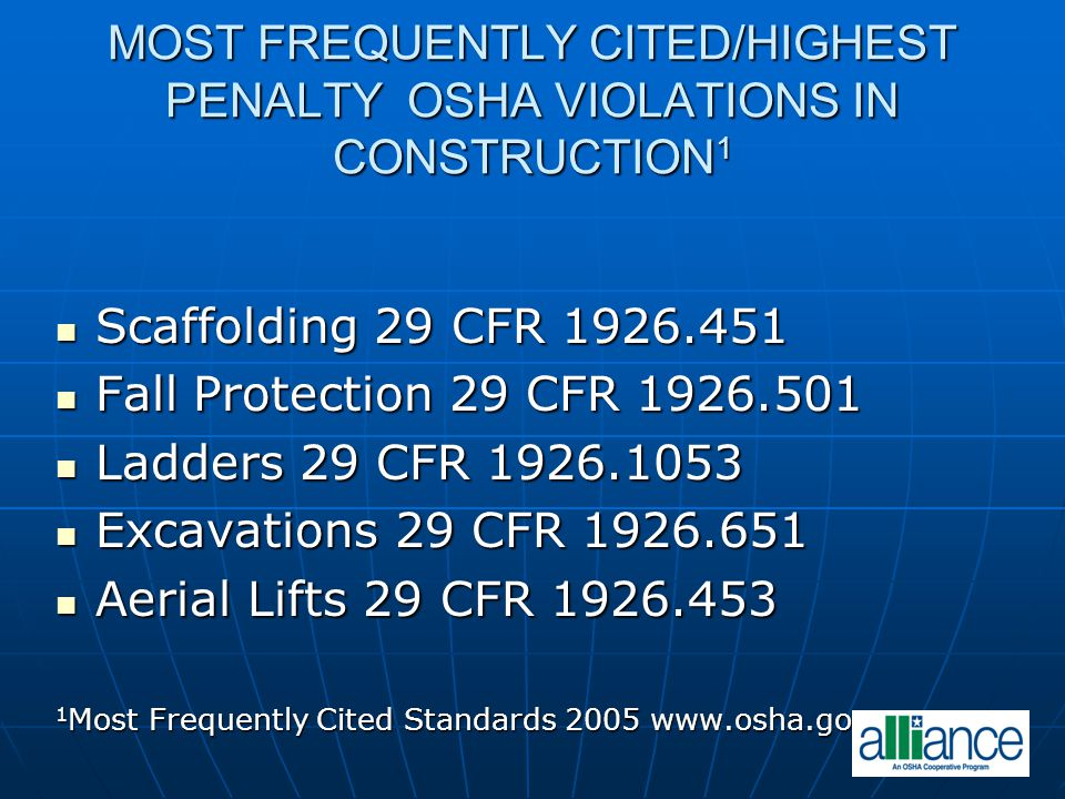 MOST FREQUENTLY CITED/HIGHEST PENALTY OSHA VIOLATIONS IN CONSTRUCTION 1 Scaffolding 29 CFR 1926.451 Scaffolding 29 CFR 1926.451 Fall Protection 29 CFR