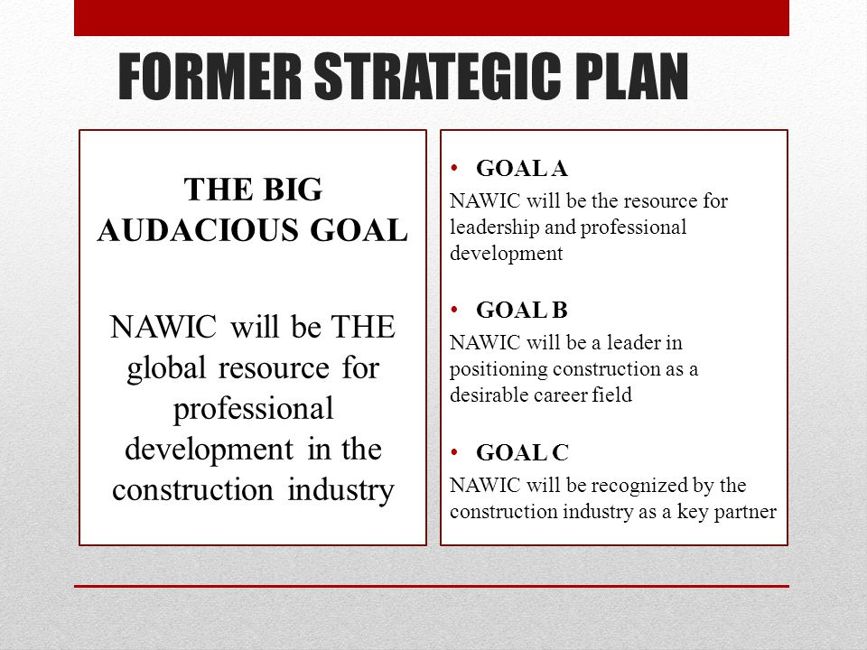 FORMER STRATEGIC PLAN THE BIG AUDACIOUS GOAL NAWIC will be THE global resource for professional development in the construction industry GOAL A NAWIC