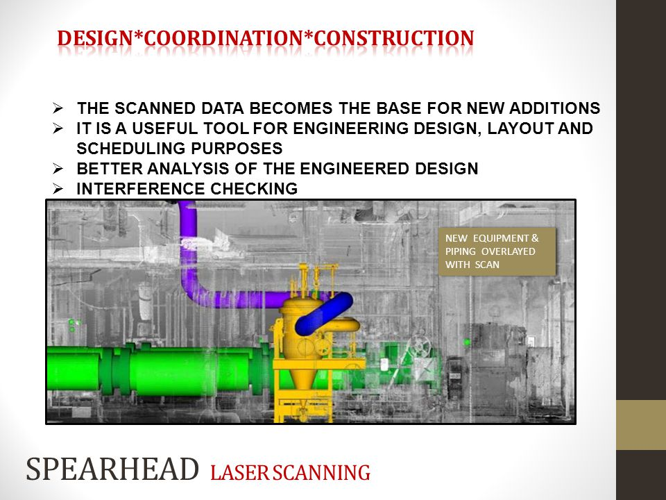 THE SCANNED DATA BECOMES THE BASE FOR NEW ADDITIONS IT IS A USEFUL TOOL FOR ENGINEERING DESIGN, LAYOUT AND SCHEDULING PURPOSES BETTER ANALYSIS OF THE