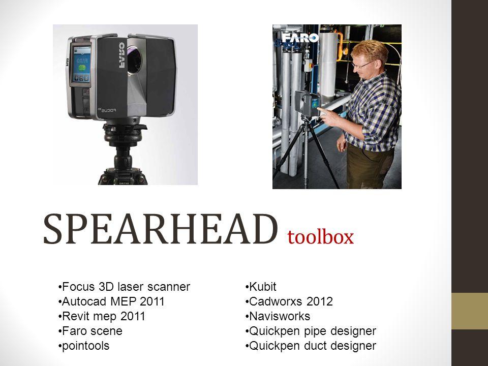 SPEARHEAD toolbox Focus 3D laser scanner Autocad MEP 2011 Revit mep 2011 Faro scene pointools Kubit Cadworxs 2012 Navisworks Quickpen pipe designer Quickpen duct designer