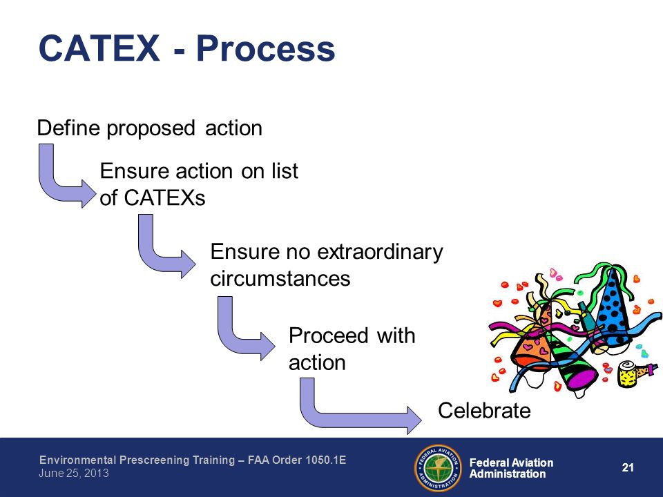21 Federal Aviation Administration Environmental Prescreening Training – FAA Order 1050.1E June 25, 2013 CATEX - Process Define proposed action Ensure action on list of CATEXs Ensure no extraordinary circumstances Proceed with action Celebrate