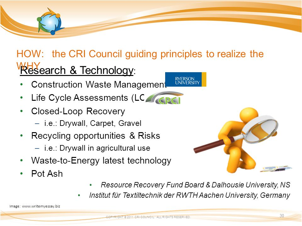 Research & Technology : Construction Waste Management Life Cycle Assessments (LCA) Closed-Loop Recovery –i.e.: Drywall, Carpet, Gravel Recycling opportunities & Risks –i.e.: Drywall in agricultural use Waste-to-Energy latest technology Pot Ash Resource Recovery Fund Board & Dalhousie University, NS Institut für Textiltechnik der RWTH Aachen University, Germany COPYRIGHT © 2011 CRI COUNCIL.