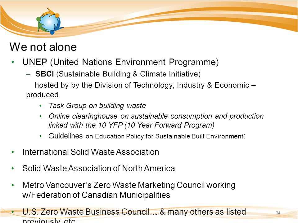 We not alone UNEP (United Nations Environment Programme) –SBCI (Sustainable Building & Climate Initiative) hosted by by the Division of Technology, Industry & Economic – produced Task Group on building waste Online clearinghouse on sustainable consumption and production linked with the 10 YFP (10 Year Forward Program) Guidelines on Education Policy for Sustainable Built Environment : International Solid Waste Association Solid Waste Association of North America Metro Vancouvers Zero Waste Marketing Council working w/Federation of Canadian Municipalities U.S.