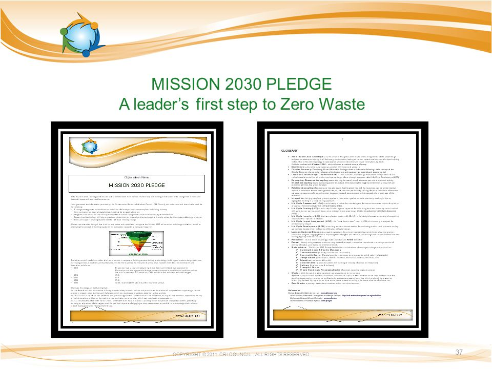 MISSION 2030 PLEDGE A leaders first step to Zero Waste COPYRIGHT © 2011 CRI COUNCIL. ALL RIGHTS RESERVED. 37