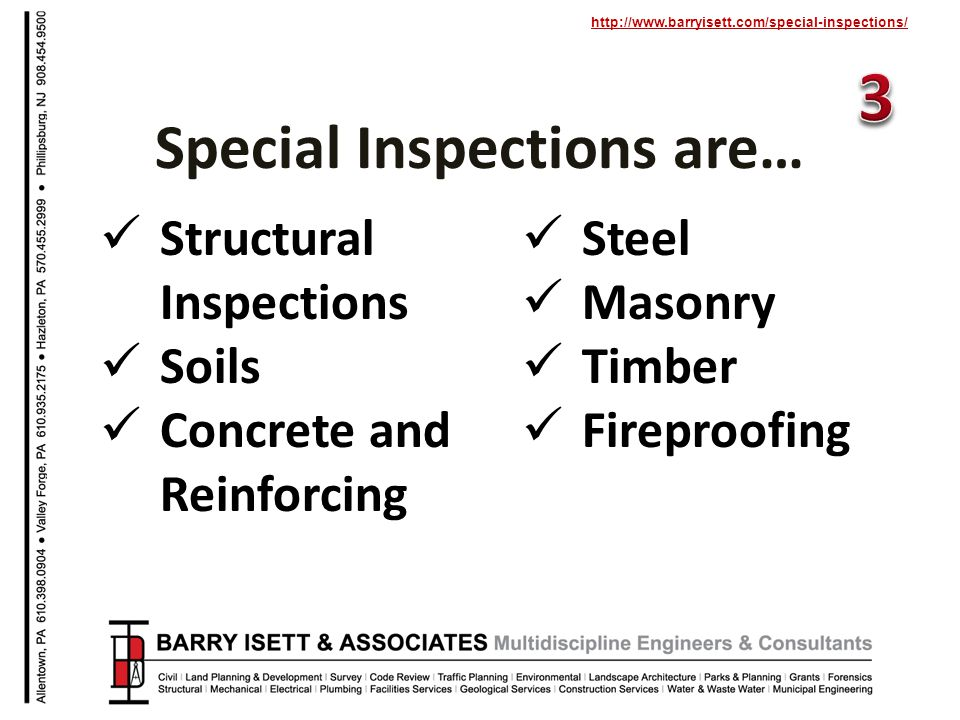 http://www.barryisett.com/special-inspections/ Structural Inspections Soils Concrete and Reinforcing Steel Masonry Timber Fireproofing Special Inspections are…