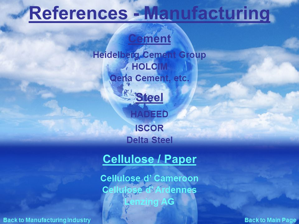 Back to Main Page References - Manufacturing Cement Steel Heidelberg Cement Group HOLCIM ISCOR HADEED Delta Steel Cellulose / Paper Cellulose d Cameroon Cellulose d Ardennes Qena Cement, etc.