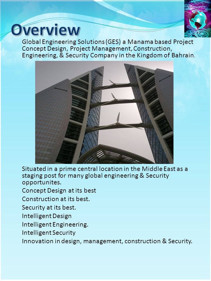 Global Engineering Solutions (GES) a Manama based Project Concept Design, Project Management, Construction, Engineering, & Security Company in the Kin