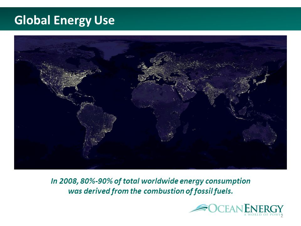 In 2008, 80%-90% of total worldwide energy consumption was derived from the combustion of fossil fuels. Global Energy Use 2