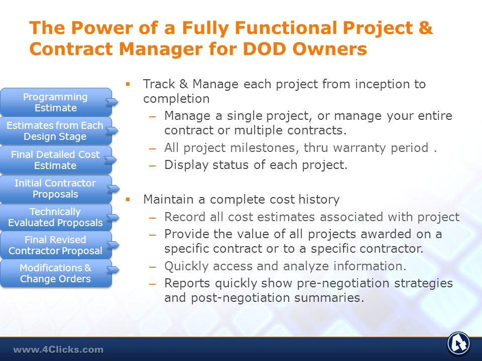 4Clicks Project Estimator 4-in-1 Integrated Approach #1Proven construction delivery process (JOC/SABER) #2 Most powerful integration of RSMeans with 4