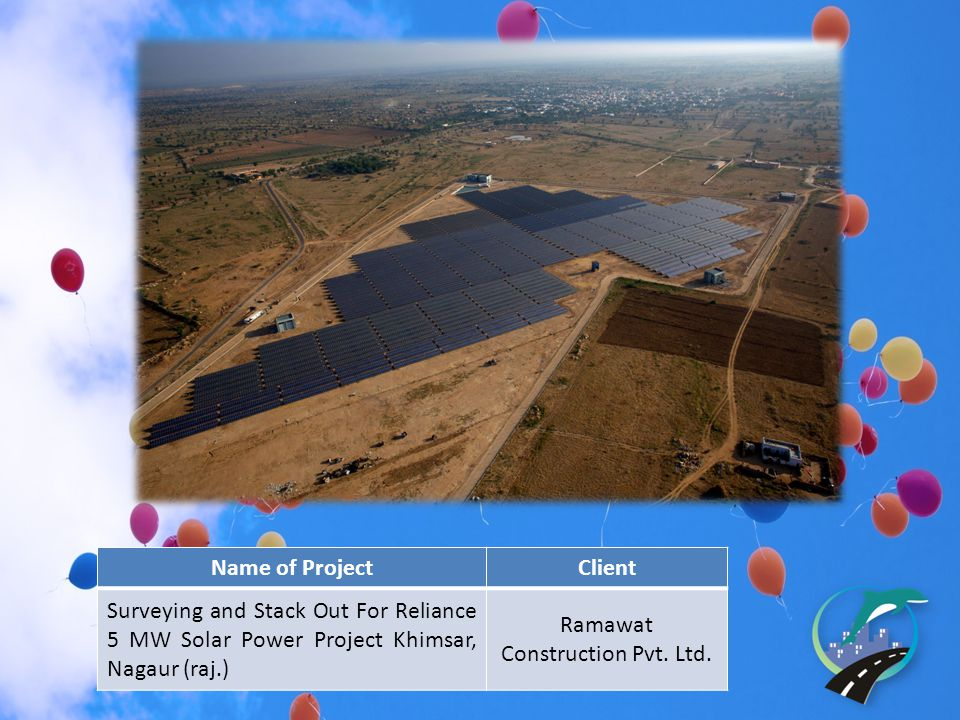 Name of ProjectClient Surveying and Stack Out For Reliance 5 MW Solar Power Project Khimsar, Nagaur (raj.) Ramawat Construction Pvt.