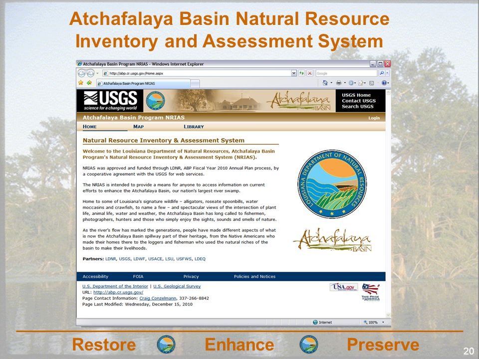RestoreEnhancePreserve 20 Atchafalaya Basin Natural Resource Inventory and Assessment System
