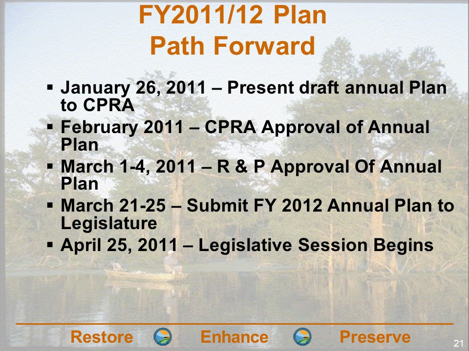RestoreEnhancePreserve 21 FY2011/12 Plan Path Forward January 26, 2011 – Present draft annual Plan to CPRA February 2011 – CPRA Approval of Annual Pla