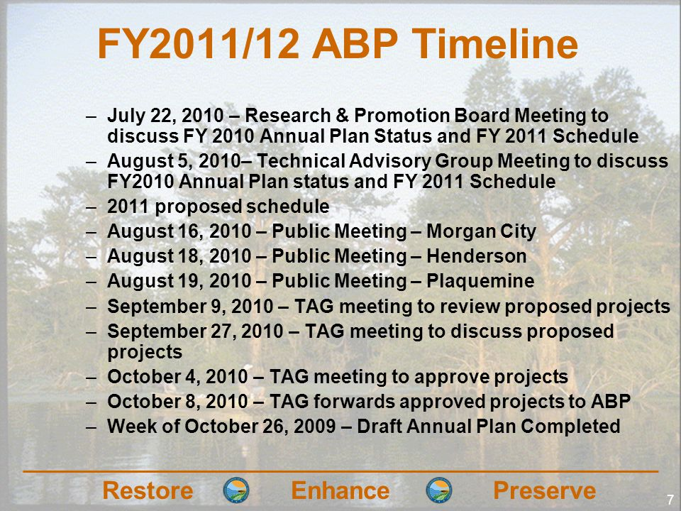 RestoreEnhancePreserve 7 FY2011/12 ABP Timeline –July 22, 2010 – Research & Promotion Board Meeting to discuss FY 2010 Annual Plan Status and FY 2011