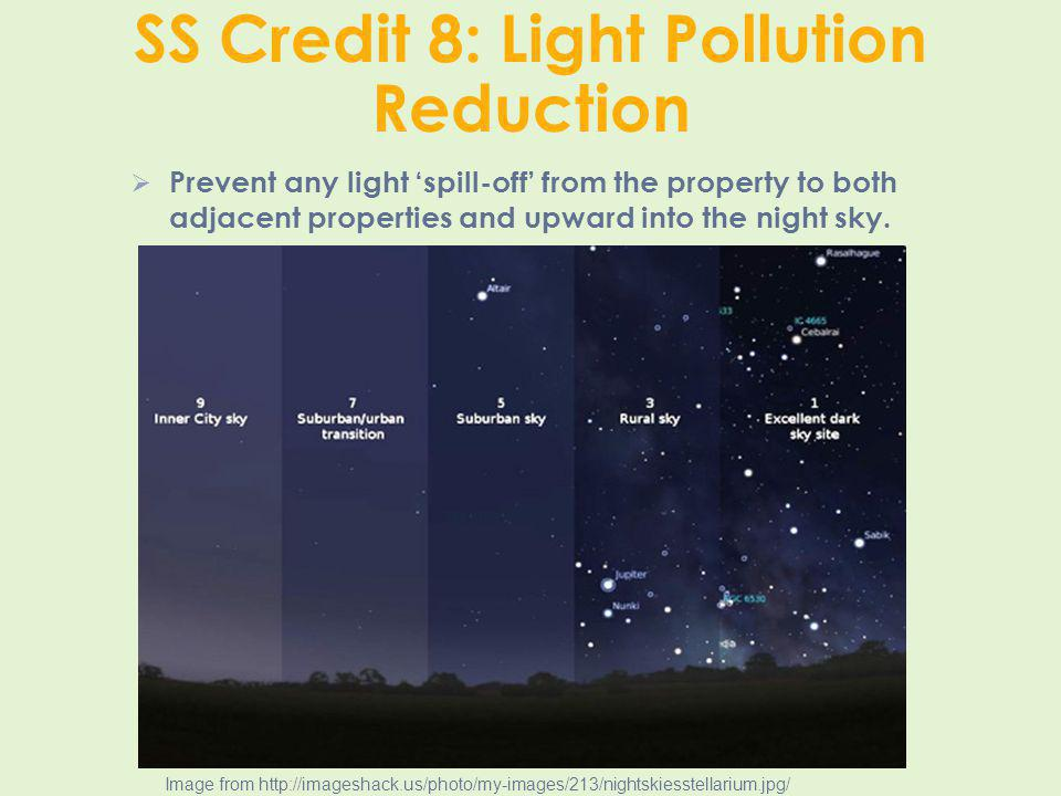 SS Credit 8: Light Pollution Reduction Prevent any light spill-off from the property to both adjacent properties and upward into the night sky. Image