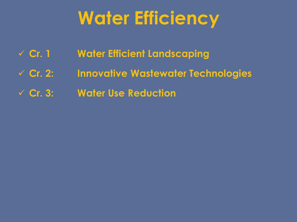 Water Efficiency Cr. 1Water Efficient Landscaping Cr. 2:Innovative Wastewater Technologies Cr. 3:Water Use Reduction