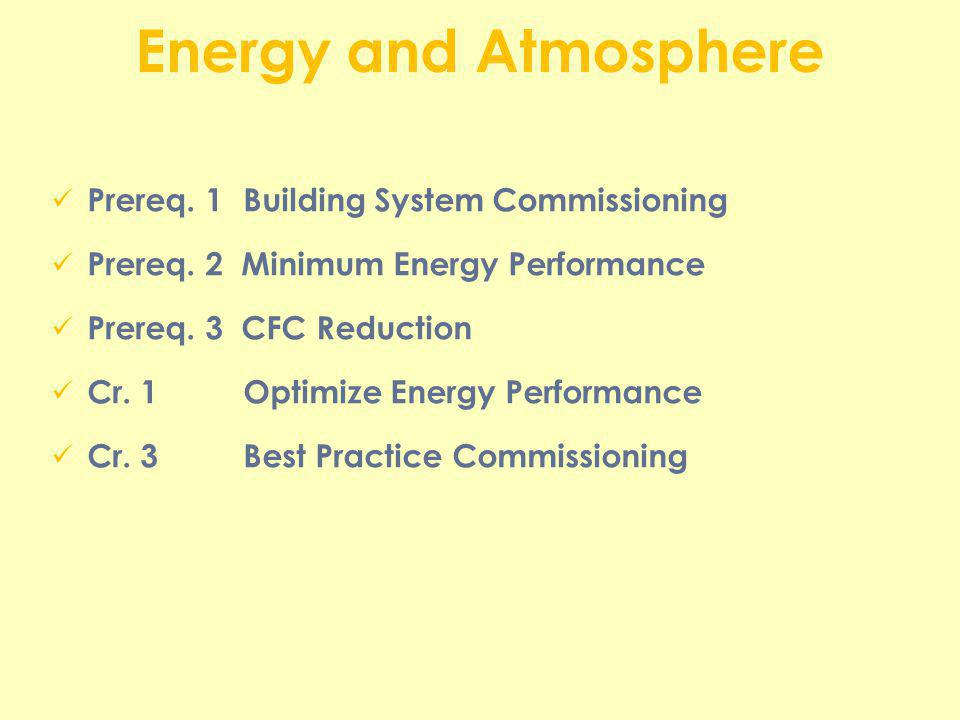 Energy and Atmosphere Prereq. 1Building System Commissioning Prereq. 2 Minimum Energy Performance Prereq. 3 CFC Reduction Cr. 1Optimize Energy Perform